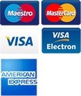 Payment Options Accepted - Mastercard, Visa, Maestro, Visa Electron, American Express
